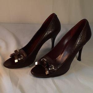 Gucci Brown open-toed monogram heels
